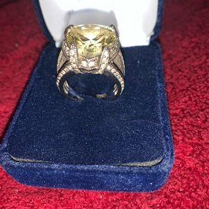 Yellow Rhinestone Silver Sterling Ring